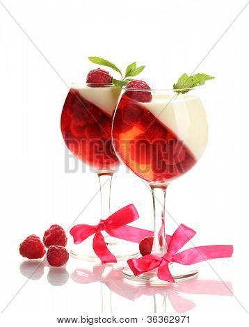 fruit jelly in glasses with raspberries isolated on white