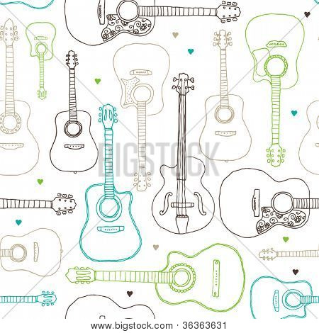 Seamless music guitar instrument background pattern in vector