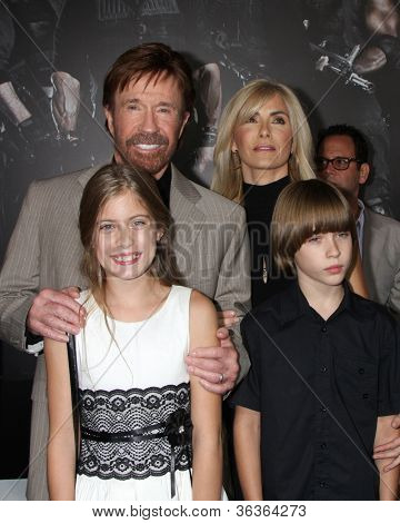 "Los Angeles - AUG 15:  Chuck Norris, family arrives at the ""The Expendables 2""  Premiere at Graumans Chinese Theater on August 15, 2012 in Los Angeles, CA"