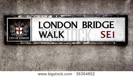 London Bridge street sign, London, UK