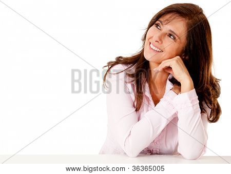Business woman daydreaming - isolated over a white background