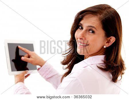 Empresaria con tablet PC - aislado sobre un fondo blanco