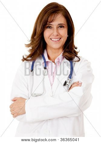 Friendly female doctor - isolated over a white background