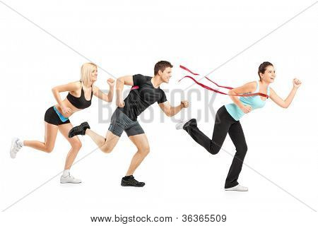 People running towards finish line isolated on white background