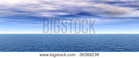 Hochauflösende blauen Wasser und Himmel mit Wolken-Hintergrund, ideal für Natur und Sommer designs