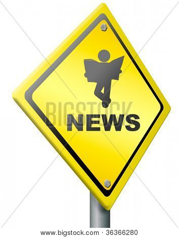 breaking news, hot item and latest rumors, reading newspaper new press release important update or announcement headlines