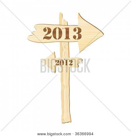 A signpost showing the way from 2012 to 2013. Rustic style. Fully editable EPS10 vector format to allow insertion of your own text.