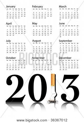 New Year resolution Quit Smoking Calendar with the 1 in 2013 being replaced by a stubbed out cigarette. EPS10 vector format.