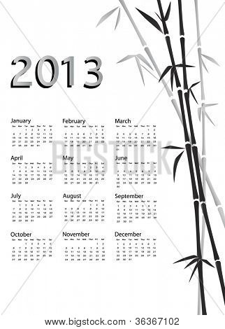 A 2013 calendar. Chinese style with bamboo background in black and white. Also available in vector format.