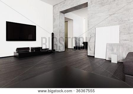 Modernen Minimalismus Stil Salon Interieur in schwarz und weiß Tönen