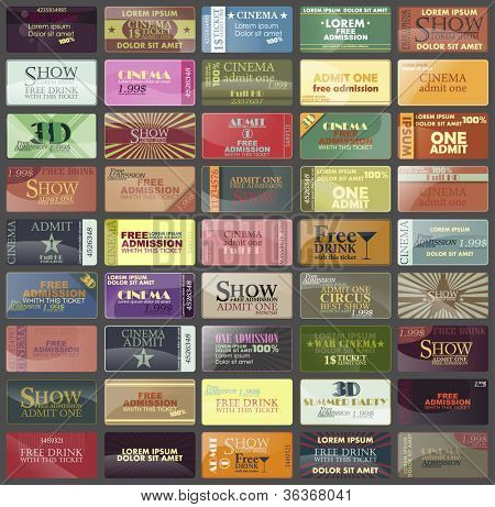 big set:card or label and isolated tickets in different styles. Vector.