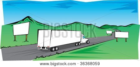 Semi Truck Traveling Across the Countryside with Blank Billboards.