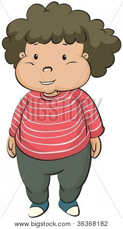 illustration of fat boy on a white background