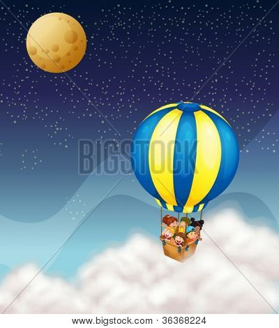 illustration of kids in hot air balloon flying in the sky