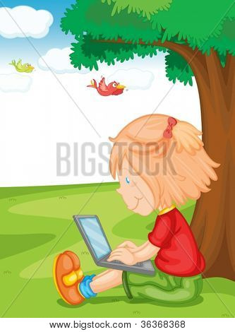 illustration of a girl and laptop under the tree