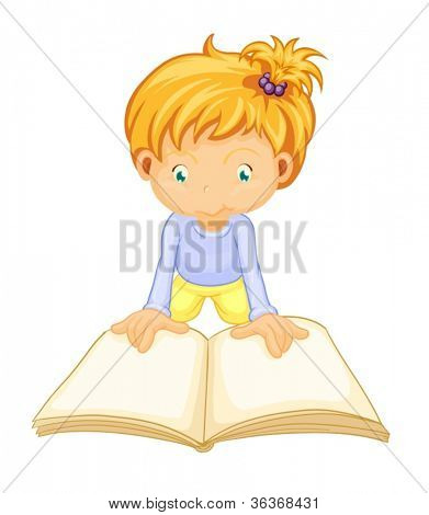 illustration of a girl reading book on a white background
