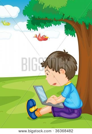 illustration of a boy and laptop under the tree