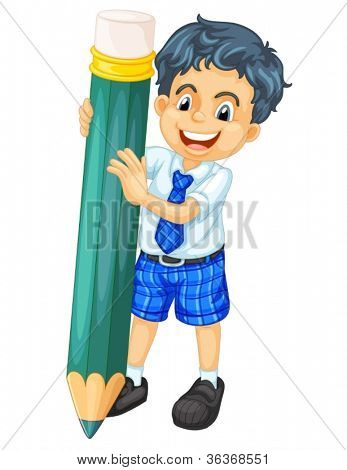 illustration of a boy and pencil on a white background