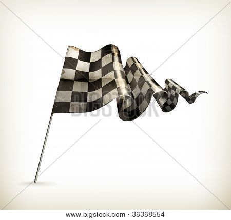 Checkered Flag, old-style vector isolated