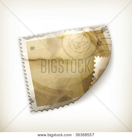Blank Postage stamp, old-style vector isolated