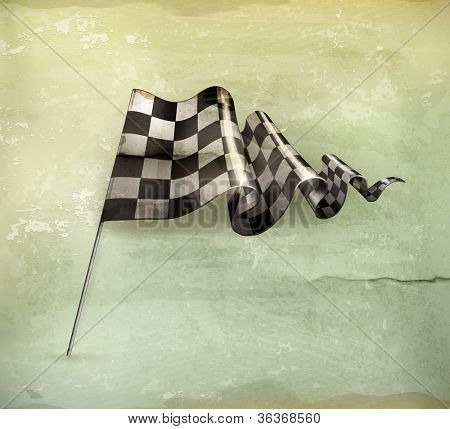 Checkered Flag, old-style vector