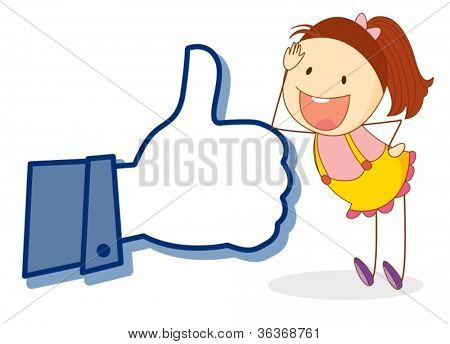 illustration of girl with thumb on a white background
