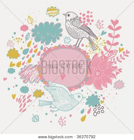 Nice background in pastel colors with vintage birds