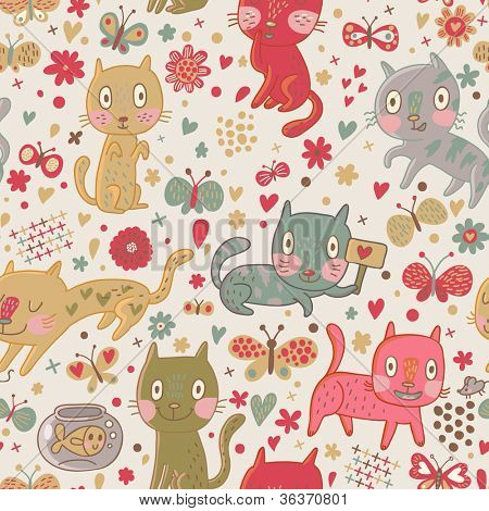 Funny cartoon cats. Cute seamless pattern for children background