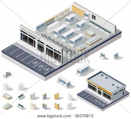Plano interior do supermercado DIY isométrica de vetor