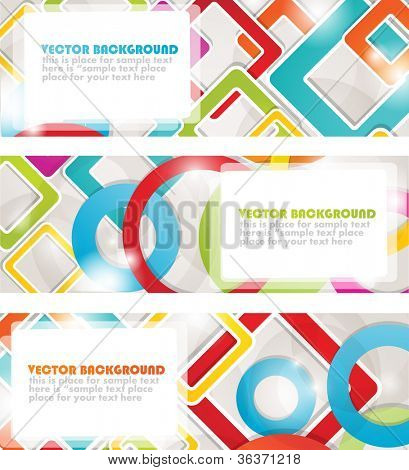 Set of four multicolored banners with circles and squares. Vector format for your design