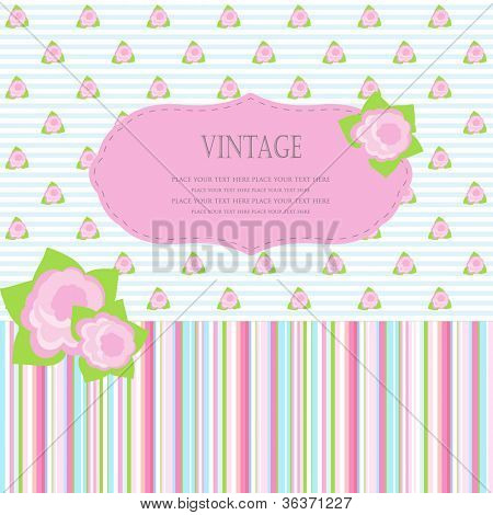 Cute greetings card with small roses on striped background. Seamless backdrop included.