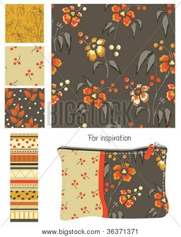 Summer Floral Seamless Vector Patterns.  Use for fabric crafts, scrap booking or digital paper.