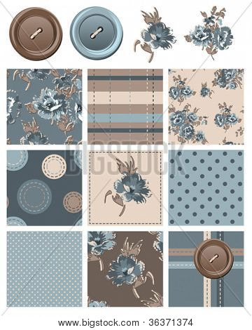 Vector Floral seamless patterns and icons.  Use to create digital paper for scrap booking or other craft projects such as patchwork quilting.