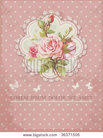 Ornate pink frame decoration with white polka dot pattern. Elegant Vintage Greeting card design. Happy Birthday vector illustration with flowers.