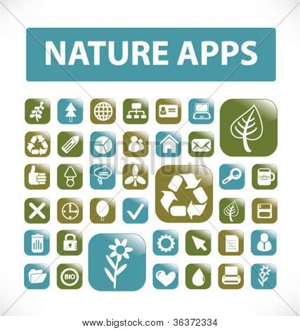 nature apps buttons & icons set, vector