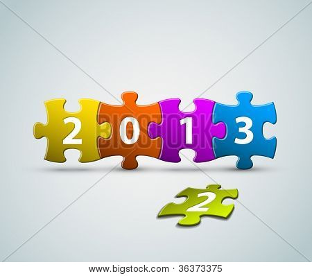 New Year 2013 card made from colorful puzzle pieces vector illustration