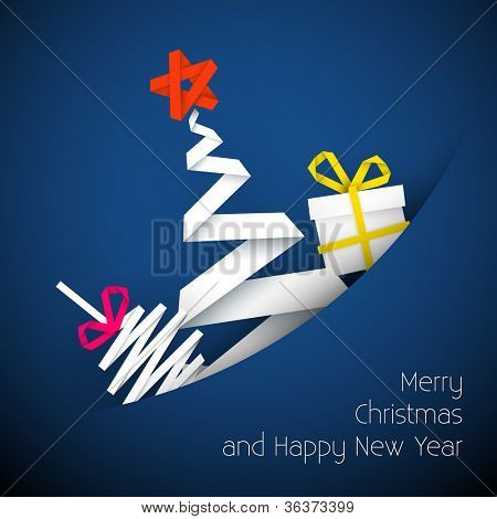 Simple vector blue christmas card with gift, tree and bauble made from paper stripe