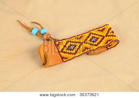 Beaded Bracelet On Buckskin