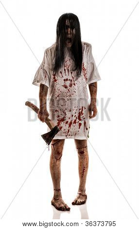 Crazy woman with an ax in his hands on a white background