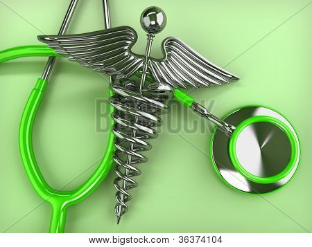 Stethoscope with symbol of medicine, caduceus. 3d