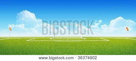 Football (soccer) goals on clean empty green field. Concept for team, championship, league poster / website design. One from collection.