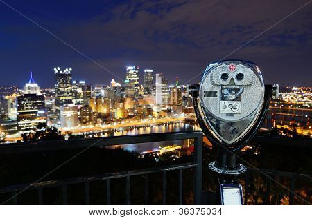 Binoculars for viewing the Pittsburgh, Pennsylvania skyline.