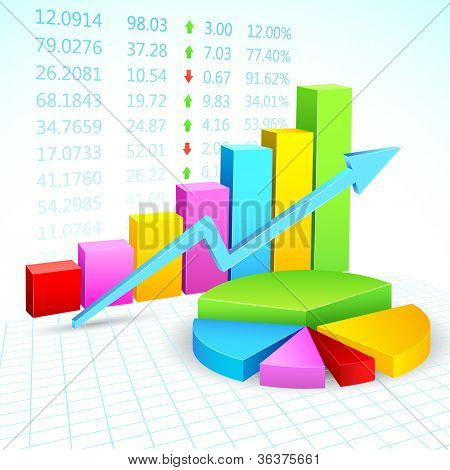 illustration of business financial graph with stock listing