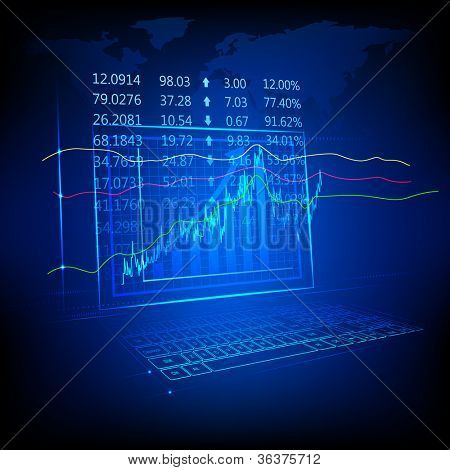 illustration of graph and number showing stock market listing