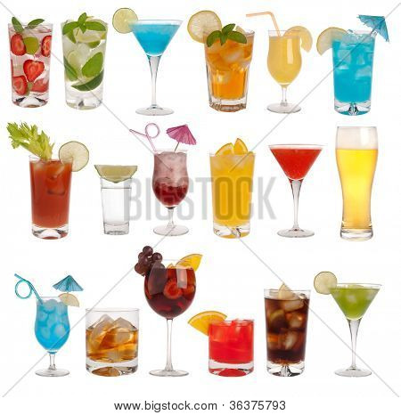 Drinks, coctails and beer isolated on white background