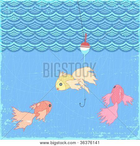 Fishing float with goldfish, eps10 illustration