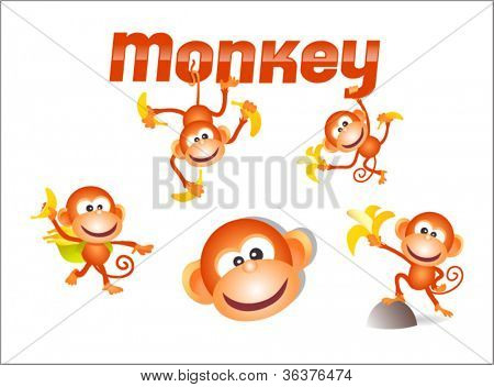 original illustrated monkey character with variety of poses