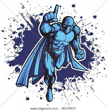 Dark superhero or villain charging forward. Put your logo on his chest!