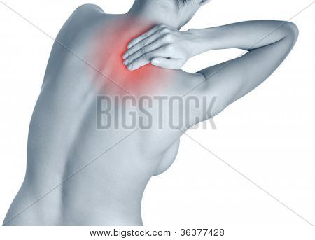 Dull ache in the shoulder, isolated, white background. Black-and-white, monochrome