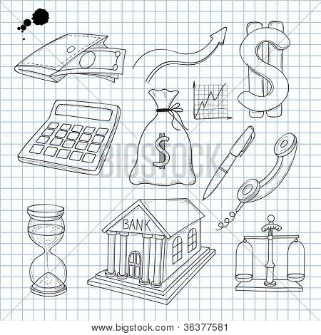 Vector illustration of objects on the economy